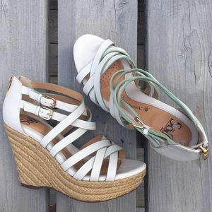 Sofft White Double Strap Zip Wedge Espadrilles